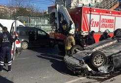 Makas atan sürücü araçlara çarpıp takla attı