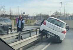 İstanbul'da ilginç kaza Orta refüje çıktı