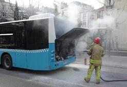 Beyoğlunda büyük panik Halk otobüsü alev alev yandı