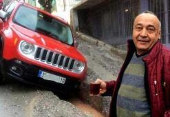 İzmirde yağmurda asfalt çöktü Araçlar çukura düştü