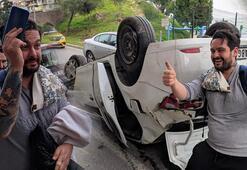 Ehliyetsiz sürücü takla attı Aracını unutup telefonunun derdine düştü