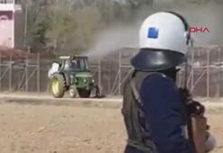 Yunan çiftçi göçmenlere tarım ilacı sıktı, yunan polisi izin verdi