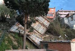 Zonguldakta şiddetli rüzgar çatıları uçurdu