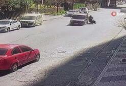 Motosikletli kuryenin üzerine direksiyonu kırdı