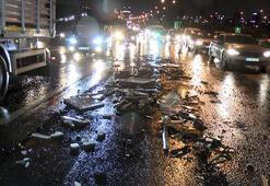 TEMde kamyonetten inşaat malzemeleri döküldü, 8 araç hasar gördü
