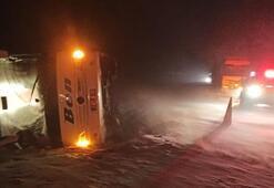 Son dakika | Afyonkarahisarda yolcu otobüsü devrildi: Yaralılar var