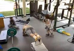 Sergio Ramos evini spor salonuna çevirdi