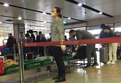 Sabiha Gökçen Havalimanında dikkat çeken corona virüs önlemi Kırmızı bant uygulamasına geçildi