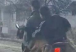 Motosiklette 2 keçi, 2 insan