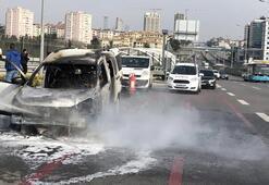 D-100 karayolunda korku dolu anlar Alev alev yandı