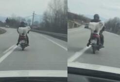 Köpeğin motosiklet üzerinde seyretmesi kamerada