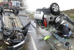 Kadın doktor takla atıp ters dönen otomobilinden yaralı kurtuldu