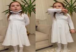 Minik Ece hemşire elbisesiyle sağlık çalışanlarına teşekkür etti