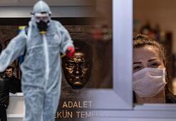 Avrupanın en büyüğü İstanbul Adalet Sarayında corona virüs önlemleri...