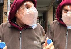 Kadıköy'de görenler şaşkına döndü Coronaya karşı pet şişeli maske