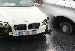 Bu sabah dehşeti yaşadı Araç sürüklenince lastikleri fırladı