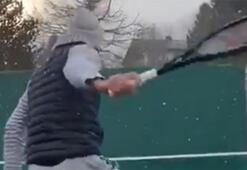 Roger Federerden kar altında antrenman