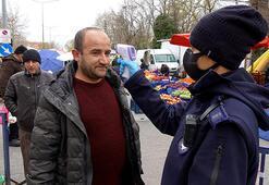 Vatandaşlar pazara ateşleri ölçülerek alınmaya başlandı
