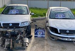 Kaza yaptıkları otomobili tamir etmek için, aynı marka aracı çaldılar