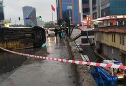 Bağcılarda feci kaza Araçtan fırladı, köprüden düştü