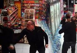 Market sahibi hırsızları tekme tokat dövdü