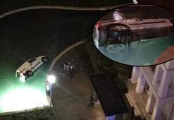 Yok böyle kaza Alkollü sürücü lüks site havuzuna uçtu