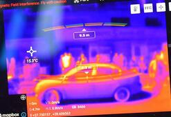 Corona virüsün ardından semt pazarında drone ile ateş ölçümleri devam ediyor