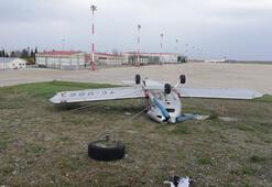Fırtına eğitim uçağını ters döndürdü