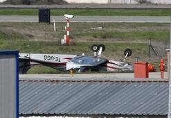 Yer: Tekirdağ... Park halindeki uçak ters döndü