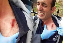 Dezenfekte çalışmaları sırasında Belediye çalışanına saldırdılar