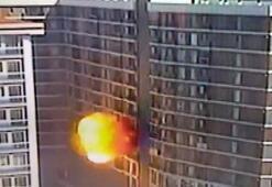 Esenyurtta bir binada meydana gelen patlama kamerada