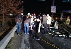 Son dakika haberler: TEMde feci kaza Bariyerlere ok gibi saplandı
