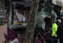 Son dakika Beşiktaşta İETT otobüsü zincirleme kaza sonrası ağaca çarptı