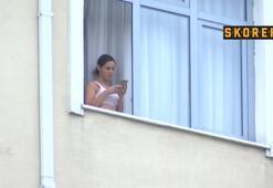 Islanın eşi Gala Caldirola yurdun penceresinde görüntülendi