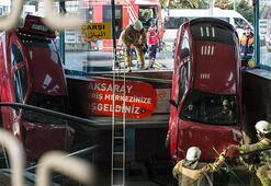 Bu sabah Aksaray yeraltı çarşısına otomobil düştü