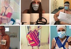 Alman doktorlar koruyucu ekipman sıkıntısını çıplak pozlarıyla protesto ediyor