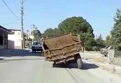 Manisada bir sürücü tekerleği olmayan traktörle trafiğe çıkıp jant üzerinde seyretti