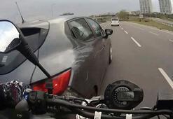İstanbul trafiğinde makas dehşeti İşte motosiklet sürücülerinin ölümden döndüğü anlar...