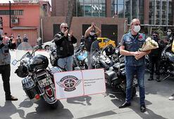 Motosiklet tutkunu doktor corona virüs sonrası konvoy ile evine uğurlandı