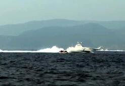 Türk kara sularına itilen bottaki 48 göçmen kurtarıldı