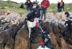 İzmirde Yunan sahil güvenliğinin Türk kara sularına ittiği sığınmacılar kurtarıldı