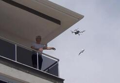 Çorumda drone ile maske dağıttılar