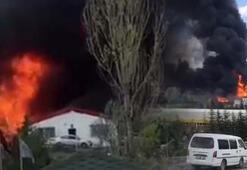 Son dakika Ankarada, boya fabrikasında yangın