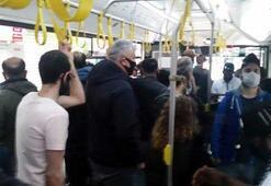 Yolcular İETT otobüsünde sosyal mesafeyi hiçe saydı