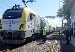 Marmaraydan geçiş yapan ilk yurt içi yük treni Çorluda
