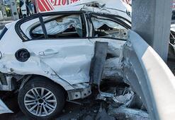 Bu sabah TEMde feci kaza Sıkışan sürücüyü itfaiye kurtardı