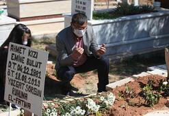 Emine Bulutun kızı, annesinin mezarını ziyaret etti