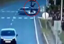 Feci kaza Motosiklet sürücüsü ölümden döndü
