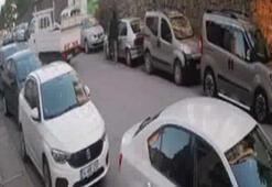 Pendikte şüphelinin otomobili çalma anı kamerada