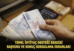 Temel ihtiyaç desteği kredisi başvuru sorgulama ve 10 bin TL kredi başvuru ekranı Vakıfbank, Halkbank, Ziraat Bankası 6 ay ödemesiz destek kredisi başvurusu...